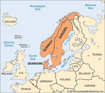 شکل 1 ـ موقعیت جغرافیایی نروژ